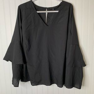 Eloquii black long sleeve career blouse size 24